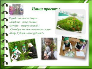Наши проекты Клумба школьного двора»; «Ландыш – лилия долин»; «Мусору – втору
