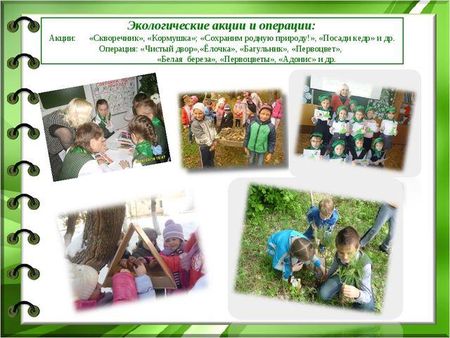 Экологические акции и операции: Акции: «Скворечник», «Кормушка»; «Сохраним ро...