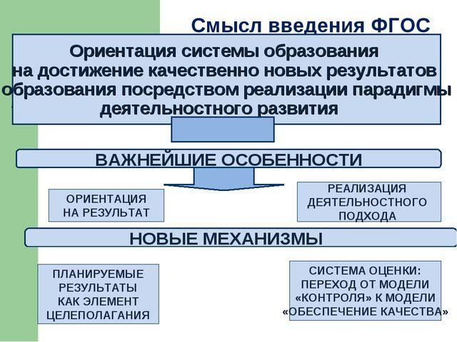 Смысл введения ФГОС Ориентация системы образования на достижение качественно...
