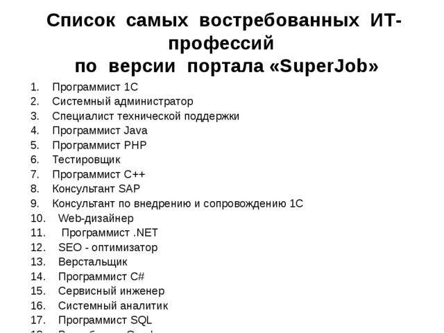 Список самых востребованных ИТ-профессий по версии портала «SuperJob» 1. Прог...