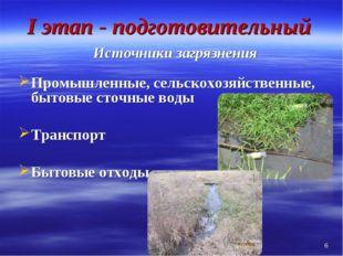 I этап - подготовительный Источники загрязнения Промышленные, сельскохозяйств