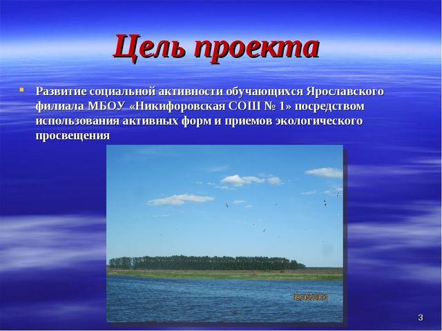Цель проекта Развитие социальной активности обучающихся Ярославского филиала...