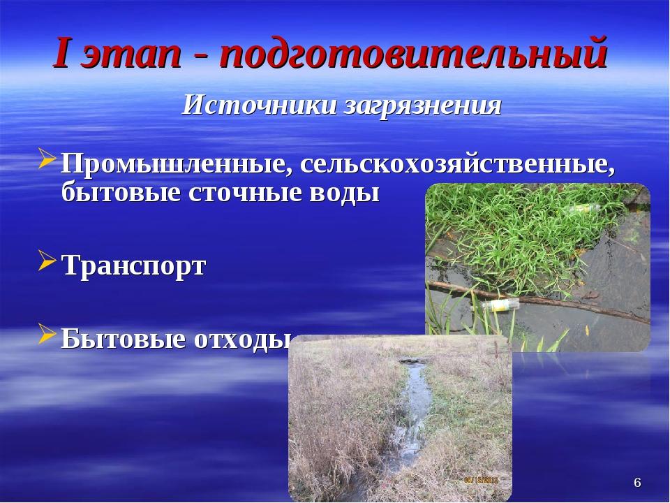 I этап - подготовительный Источники загрязнения Промышленные, сельскохозяйств...