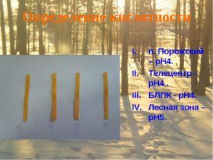 Определение кислотности п. Порожский – pH4. Телецентр - pH4 . БЛПК - pH4. Лес