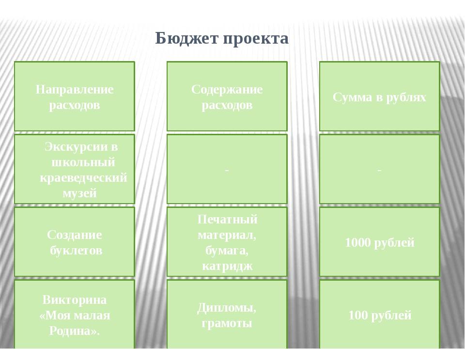 Бюджет проекта Направление расходов Содержание расходов Сумма в рублях Экску...