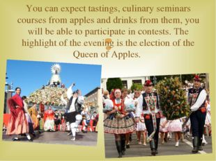 You can expect tastings, culinary seminars courses from apples and drinks fro