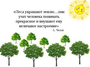 «Леса украшают землю…они учат человека понимать прекрасное и внушают ему вели