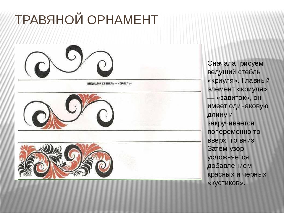 ТРАВЯНОЙ ОРНАМЕНТ Сначала рисуем ведущий стебль «криуля». Главный элемент «к...
