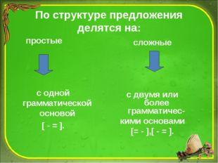 По структуре предложения делятся на: простые сложные с одной грамматической о
