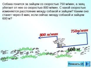 Показать (2) 600 м 800 м/мин 750м/мин Собака гонится за зайцем со скоростью 7