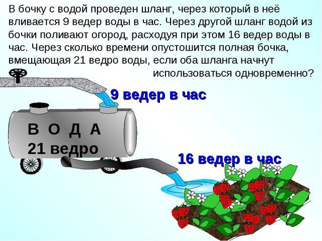 В бочку с водой проведен шланг, через который в неё вливается 9 ведер воды в...