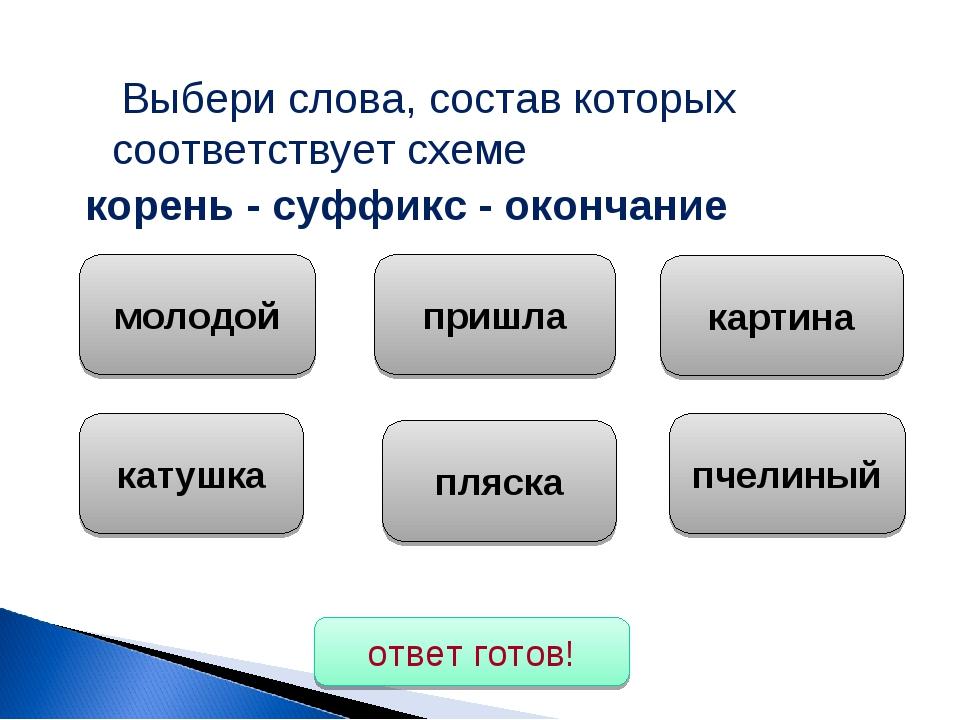 Выбери слова, состав которых соответствует схеме корень - суффикс - окончани...