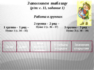 Работа в группах Заполняем таблицу (р/т: с. 11, задание 1) 1 группа - 1 ряд –