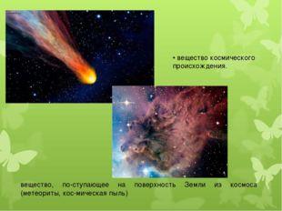 • вещество космического происхождения. вещество, поступающее на поверхность