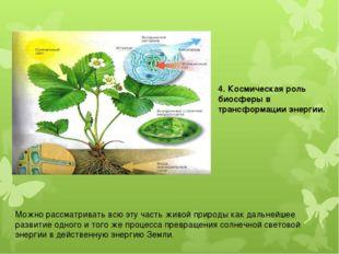 4. Космическая роль биосферы в трансформации энергии. Можно рассматривать всю