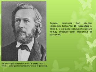 Термин экология был введен немецким биологом Э. Геккелем в 1866 г. и означал