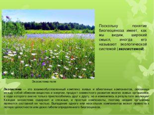 Поскольку понятие биогеоценоза имеет, как мы видим, широкий смысл, иногда его