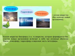 • косное вещество (без наличия живых организмов); Косное вещество биосферы (т