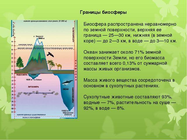 Биосфера распространена неравномерно по земной поверхности, верхняя ее границ...
