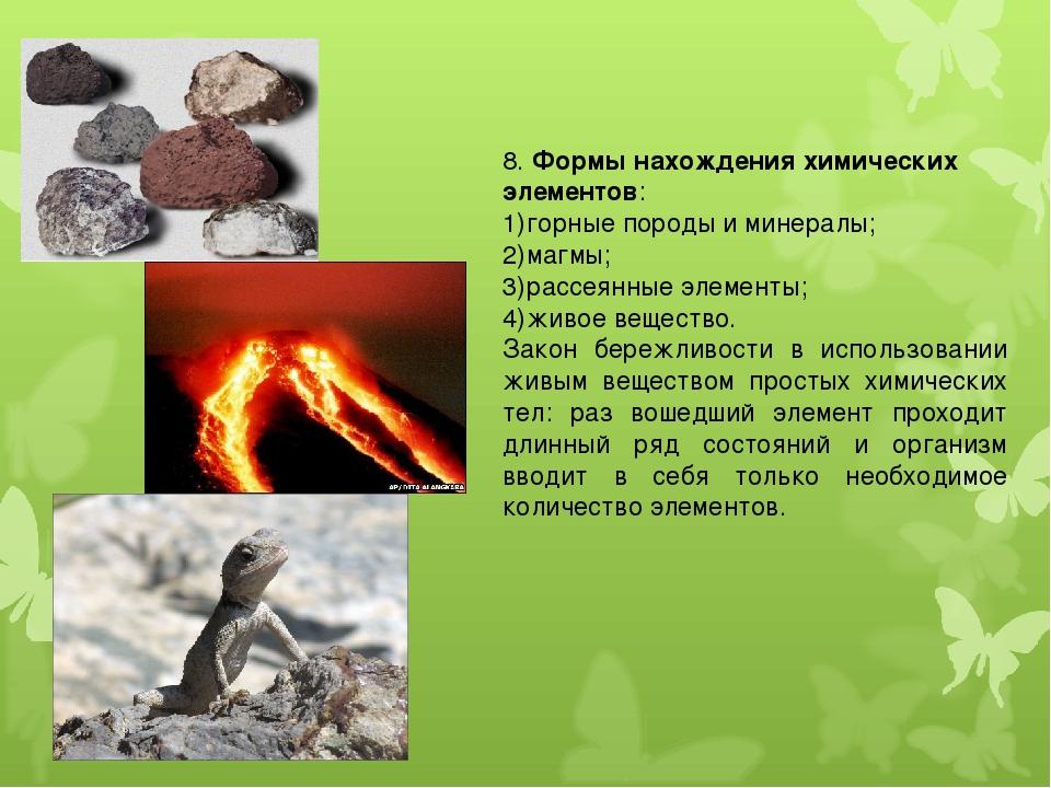 8. Формы нахождения химических элементов: горные породы и минералы; магмы; ра...