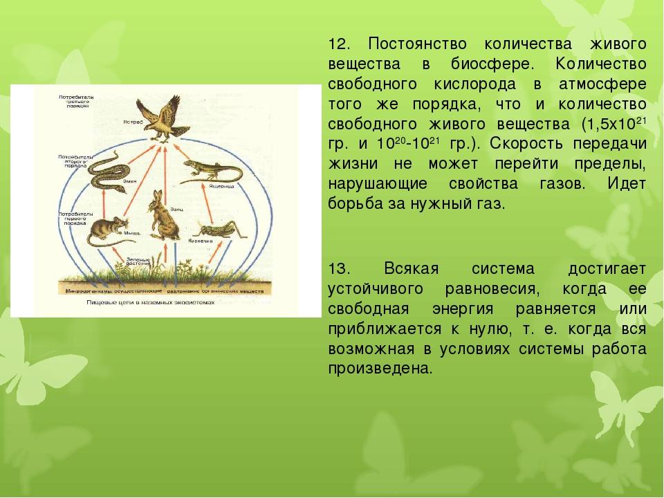 12. Постоянство количества живого вещества в биосфере. Количество свободного...
