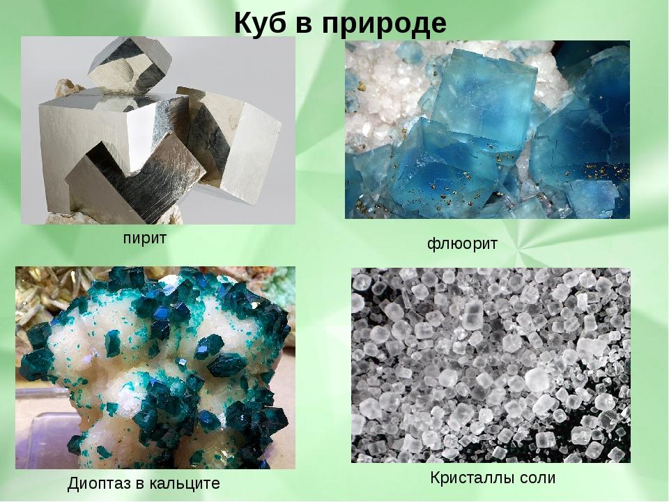 пирит флюорит Диоптаз в кальците Кристаллы соли Куб в природе