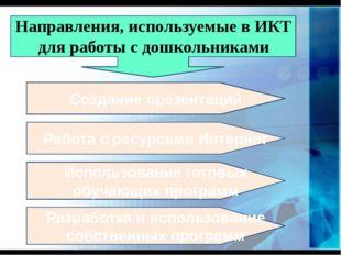 Направления, используемые в ИКТ для работы с дошкольниками Создание презента