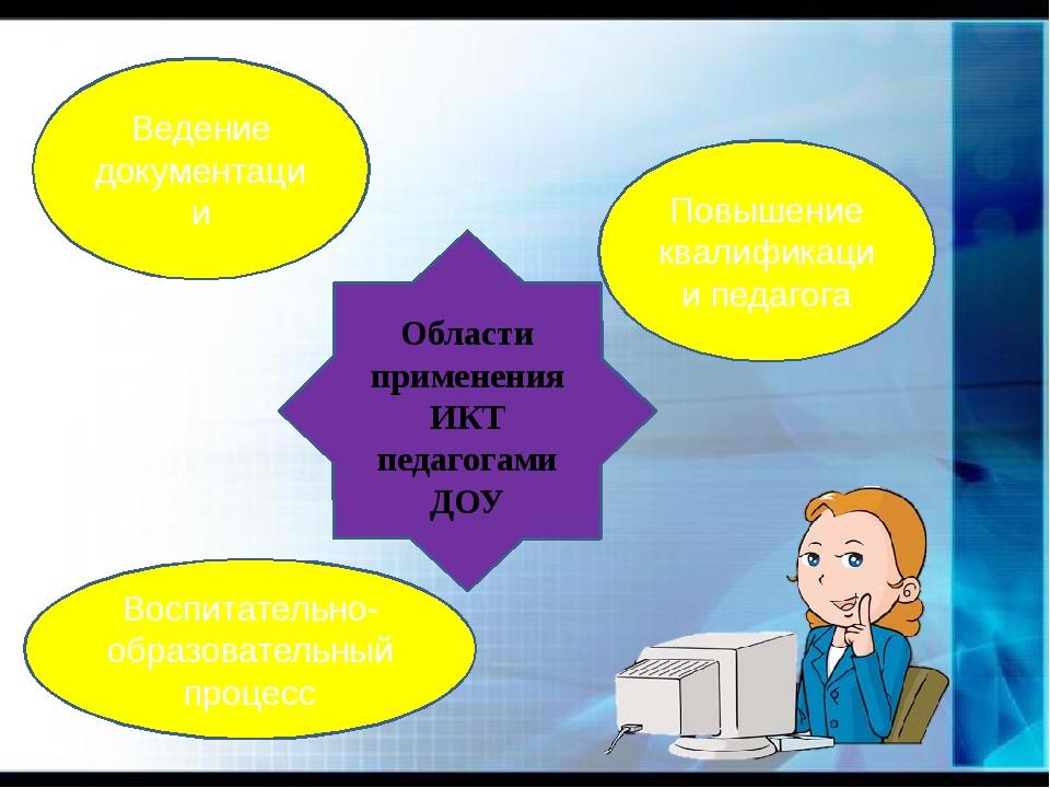 Области применения ИКТ педагогами ДОУ Ведение документации Повышение квалифи...