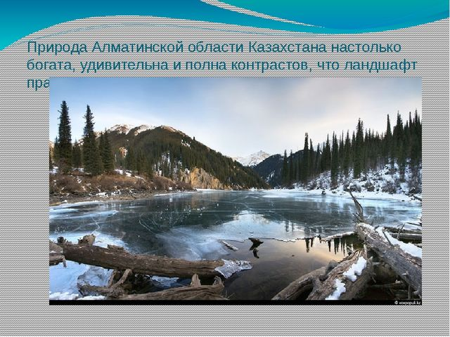 Природа Алматинской области Казахстананастолько богата, удивительна и полна...