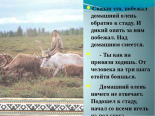 Сказав это, побежал домашний олень обратно к стаду. И дикий опять за ним поб