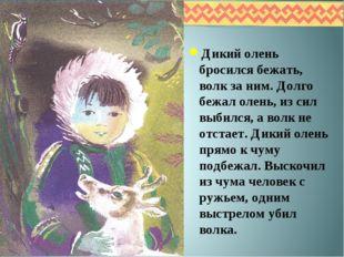 Дикий олень бросился бежать, волк за ним. Долго бежал олень, из сил выбился,
