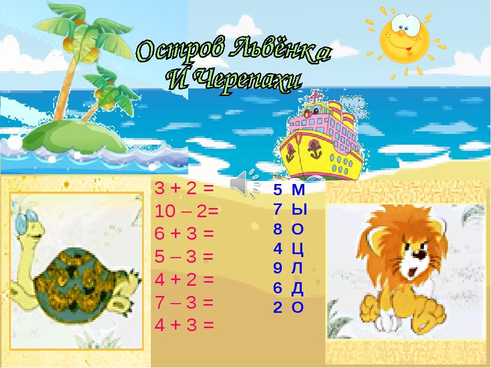 3 + 2 = 10 – 2= 6 + 3 = 5 – 3 = 4 + 2 = 7 – 3 = 4 + 3 = 5 М 7 Ы 8 О 4 Ц 9 Л 6...
