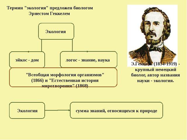"""Термин """"экология"""" предложен биологом Эрнестом Геккелем Э.Геккель(1834-1919)..."""