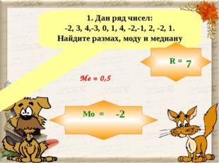 1. Дан ряд чисел: -2, 3, 4,-3, 0, 1, 4, -2,-1, 2, -2, 1. Найдите размах, моду