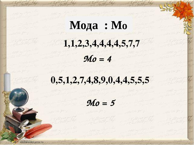 Mо = 4 1,1,2,3,4,4,4,4,5,7,7 Мода : Мо 0,5,1,2,7,4,8,9,0,4,4,5,5,5 Mо = 5