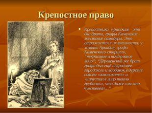 Крепостное право Крепостники в рассказе - это два брата, графы Каменские - же