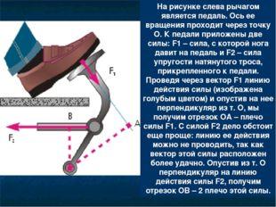 На рисунке слева рычагом является педаль. Ось ее вращения проходит через точк