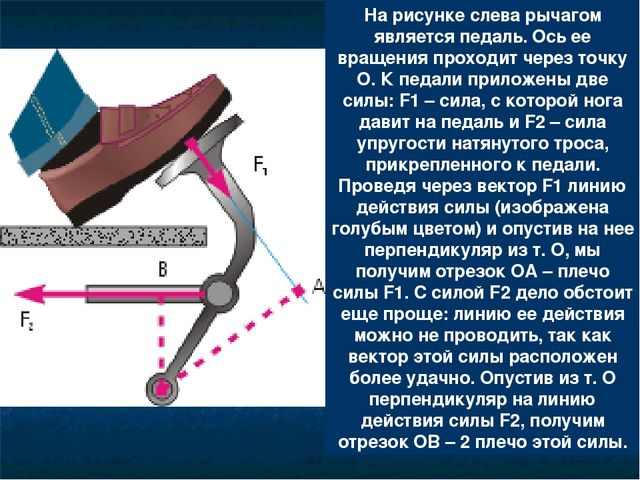 На рисунке слева рычагом является педаль. Ось ее вращения проходит через точк...