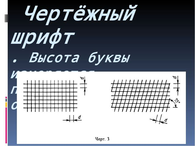 Чертёжный шрифт . Высота буквы измеряется перпендикулярно к основанию строки.