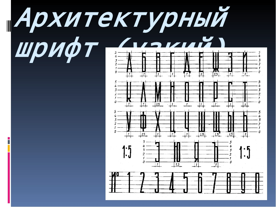Архитектурный шрифт (узкий)