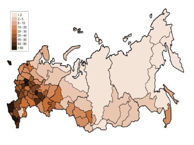 Какая из территорий, обозначенных буквами на карте России, имеет наибольшую с...