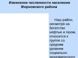 Изменение численности населения Жирновского района Наш район, несмотря на бо