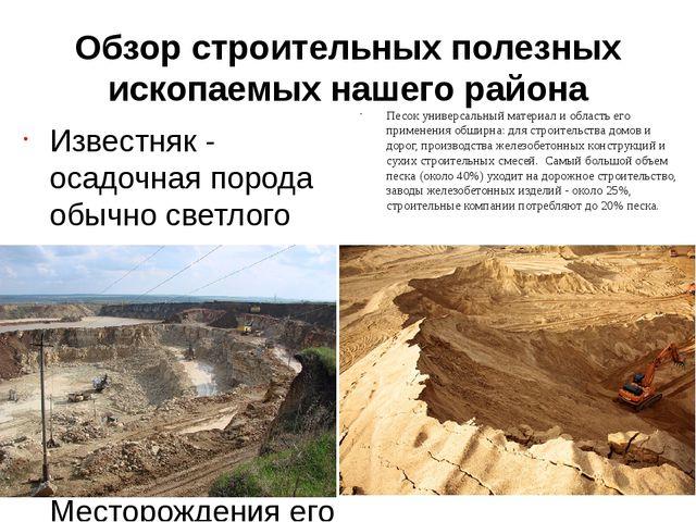 Обзор строительных полезных ископаемых нашего района Известняк - осадочная по...