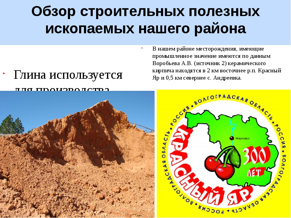 Обзор строительных полезных ископаемых нашего района Глина используется для п...