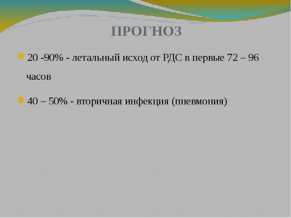 ПРОГНОЗ 20 -90% - летальный исход от РДС в первые 72 – 96 часов 40 – 50% - вт...
