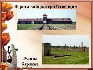 Ворота концлагеря Освенцим Руины бараков