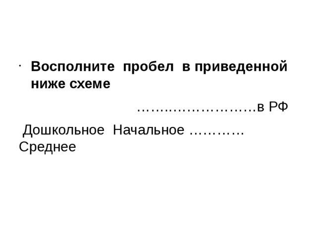 Восполните пробел в приведенной ниже схеме ……..………………в РФ Дошкольное Начальн...