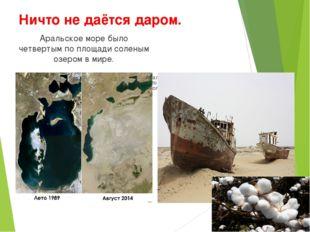 Ничто не даётся даром. Аральское море было четвертым по площади соленым озеро