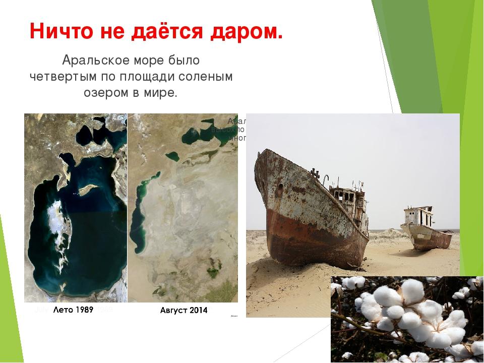 Ничто не даётся даром. Аральское море было четвертым по площади соленым озеро...