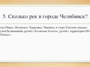 5. Сколько рек в городе Челябинск? Река Миасс, Игуменка, Чернушка, Чикинка, в